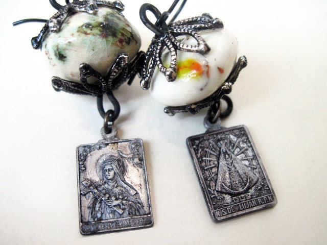 The Marys. Ceramic and Religious Medal Dangles