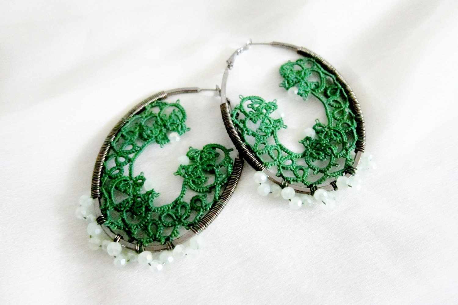 tatting  green earrings tatted lace hoops erg123