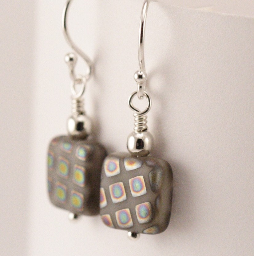 Free Shipping - Silver Geometric Earrings With Diagonal Squares