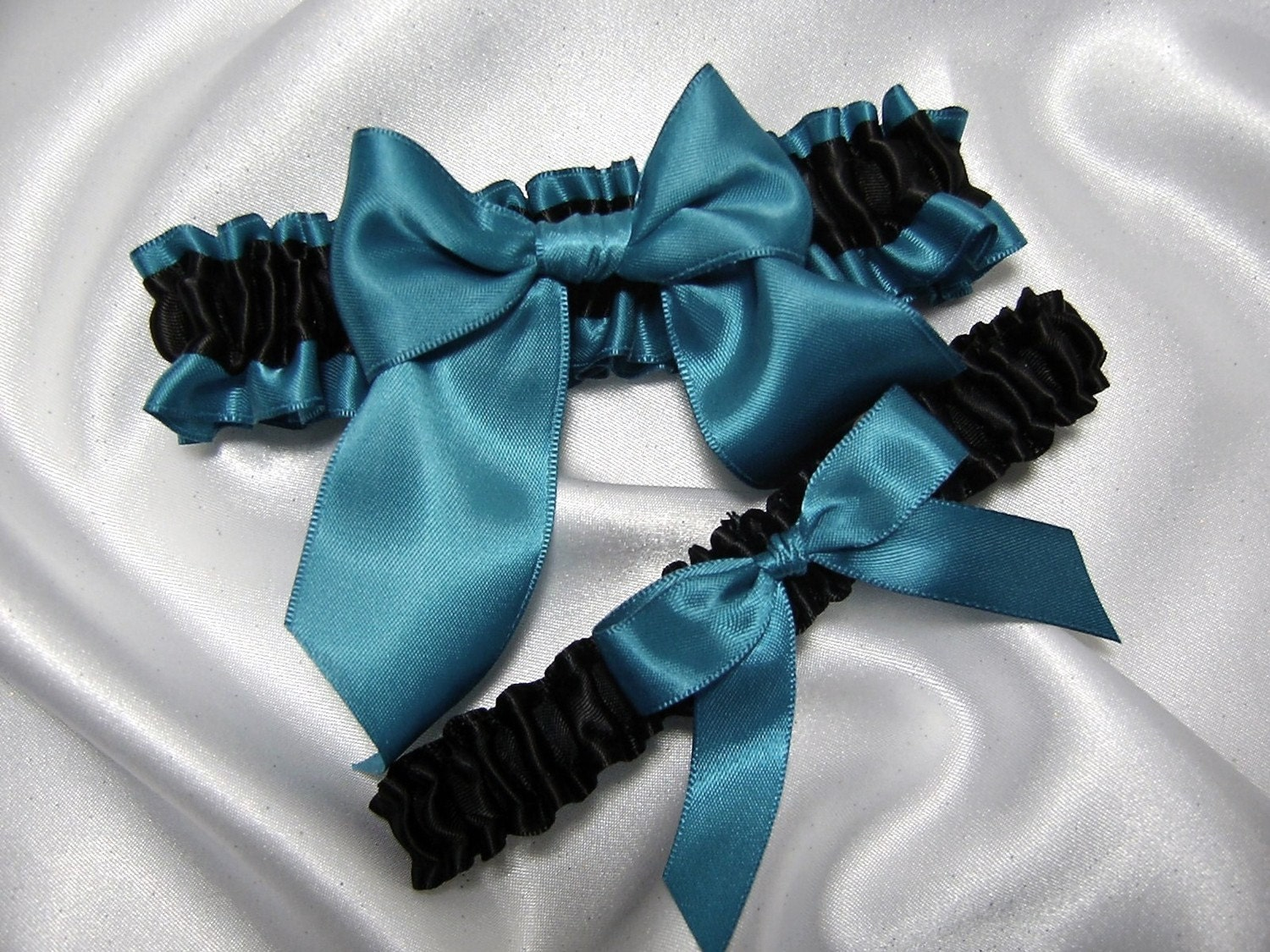 Black and Dark Teal Satin Wedding Garter Set Toss Garter Included