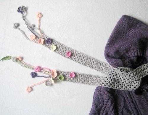 خاکستری های زیبا و صورتی گل پشم شال - ساده مد