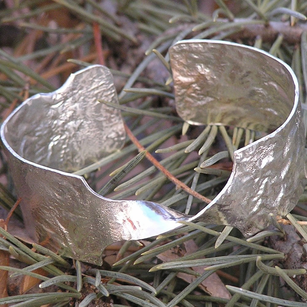Retriculated Silver Cuff Bracelet - honeybeebungalow