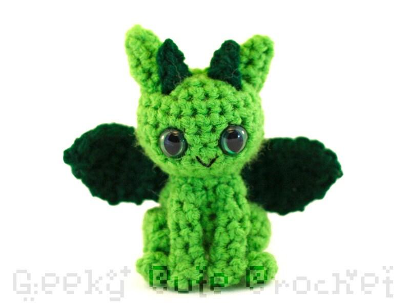 Dragon Amigurumi Crocheted Toy in Green by GeekyCuteCrochet