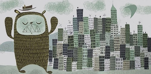 Large Giant Suburban Bear Monster visits Chicago print