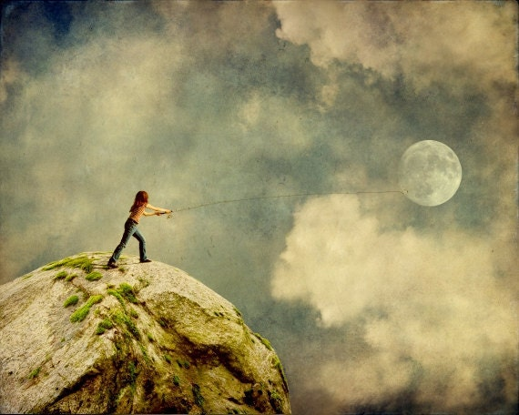 Whimsical art for children, gone fishing, surreal moon photography, fantasy art photo prints - kanelstrand