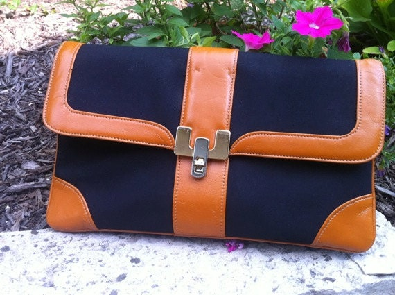 Vintage Black Canvas Purse with Carmel Brown Trim
