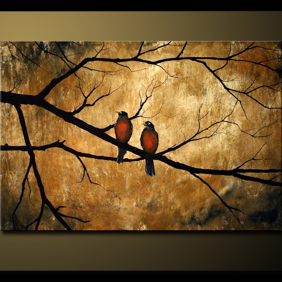 Calm Nature Birds on Earth Toned Background, with textured look, 24x36x1.5 Sharp Rustic Look
