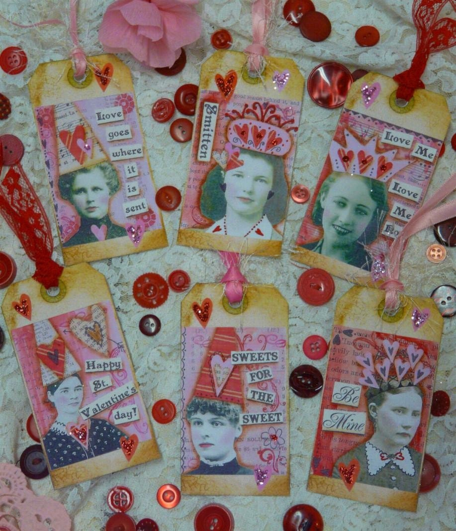 Women VALENTINE TAGS Collage Paper Sheet -  U Print art vintage saying old party photos sayings aceo scrapbooking primitive digital