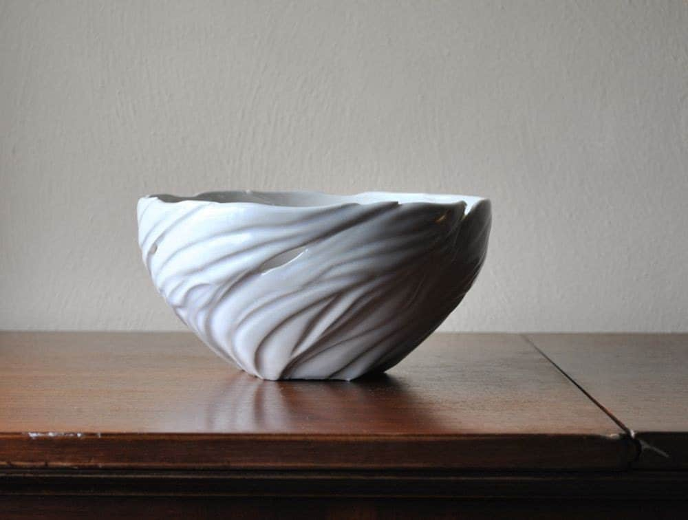 Large Winter White Porcelain Carved Organic Centerpiece Bowl