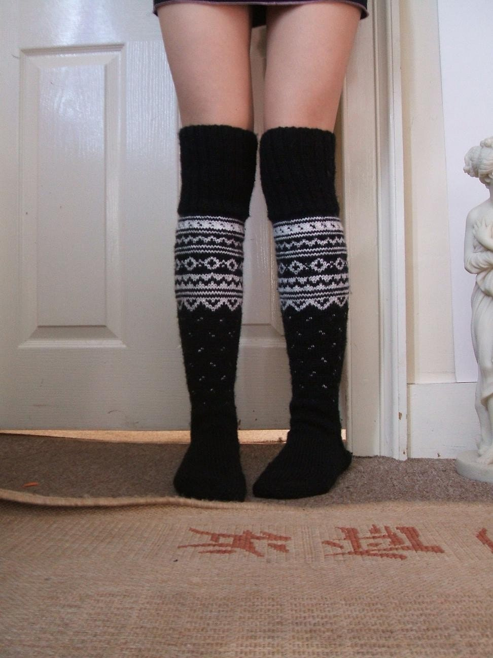 Long Black Norwegian Socks