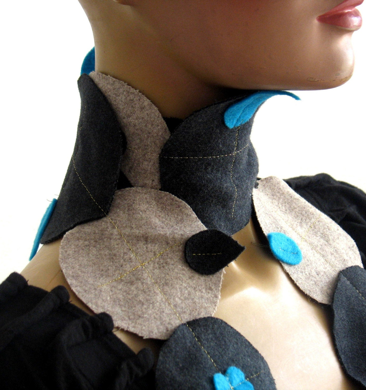 Necklace scarf, felt turquoise hearts with grey wool dots