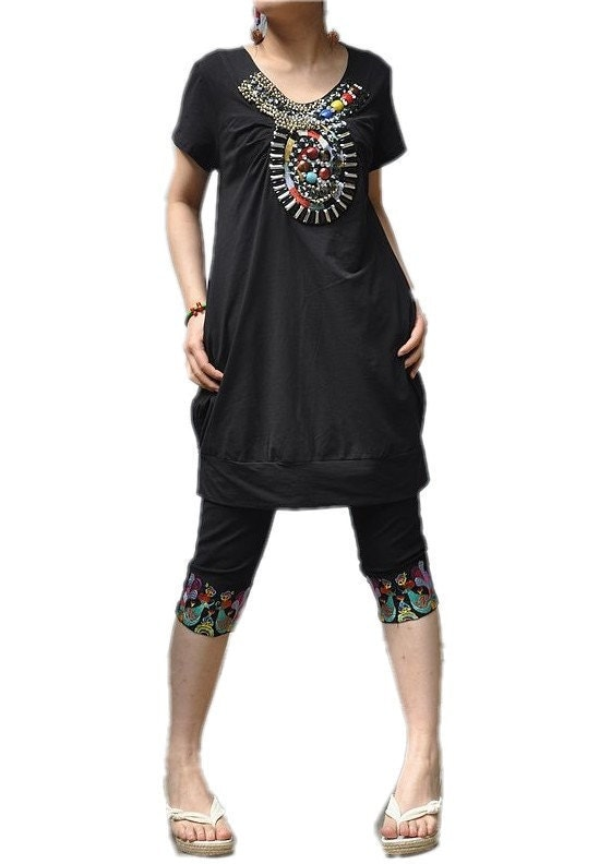 Fantasy Feeling / embroidery hand Beads short sleeve T shirt
