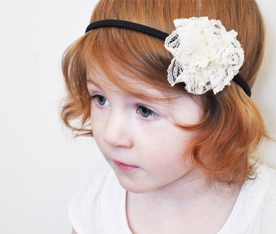 Ruffle Lace Rose Headband