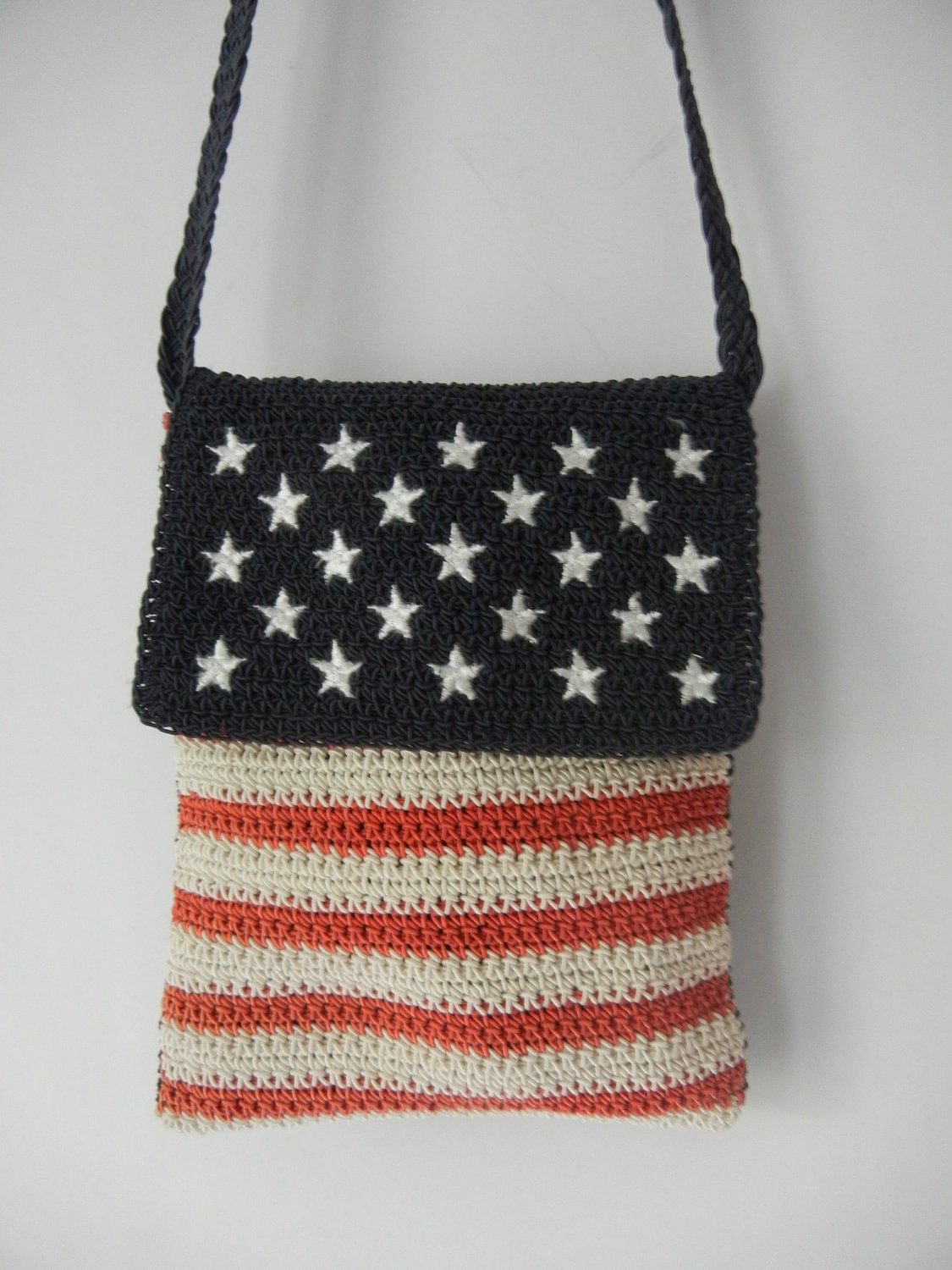 Small American Flag Crochet Pattern : Vintage American Flag Purse Bag Pouch Small by ...