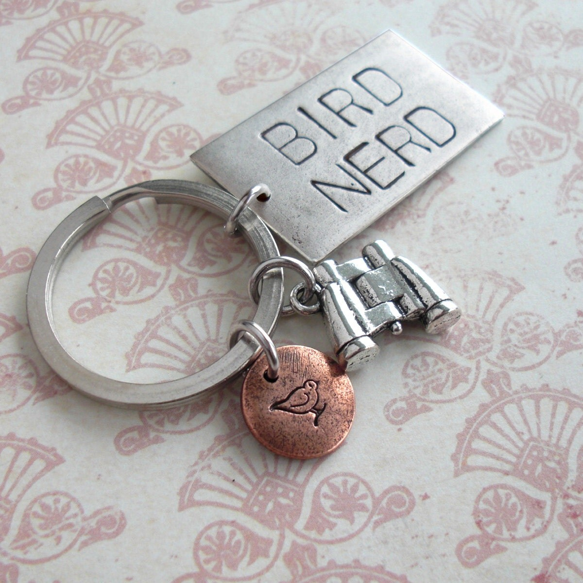 Bird Nerd GRANDE Charm Keychain.. Hand Stamped .. customize stylish antiqued metal charm .. Round pendant in Copper, Silver or Gold - TipsyWhimsey