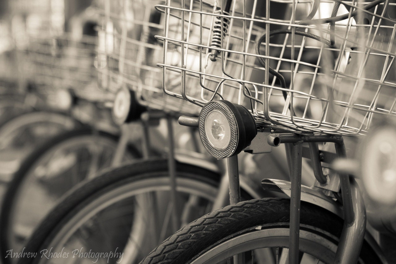 Paris Bicycle Photograph - France Wall Art - Travel Photography - Black & White - Bike Basket - Biking Photo - AndrewRhodesPhoto