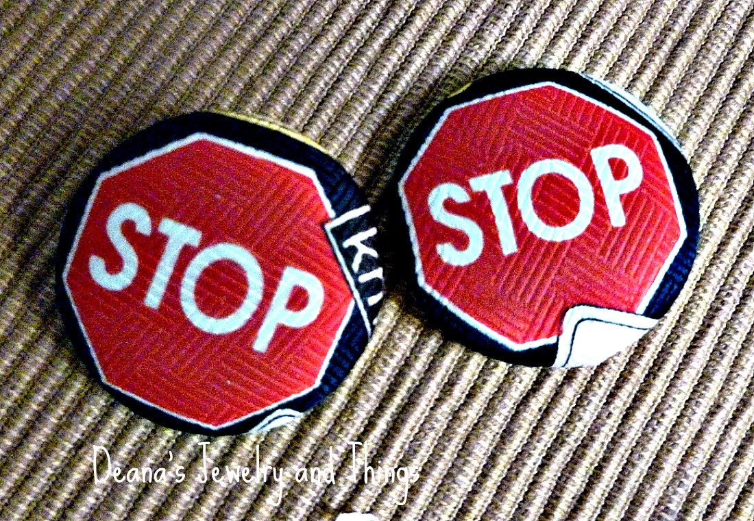 """Stop Sign Fabric Button Earrings 1 1/2"""""""
