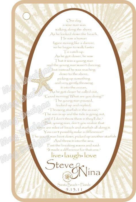 Starfish Poem Favor Card For Beach Weddings Or By IDoArtsyWeddings