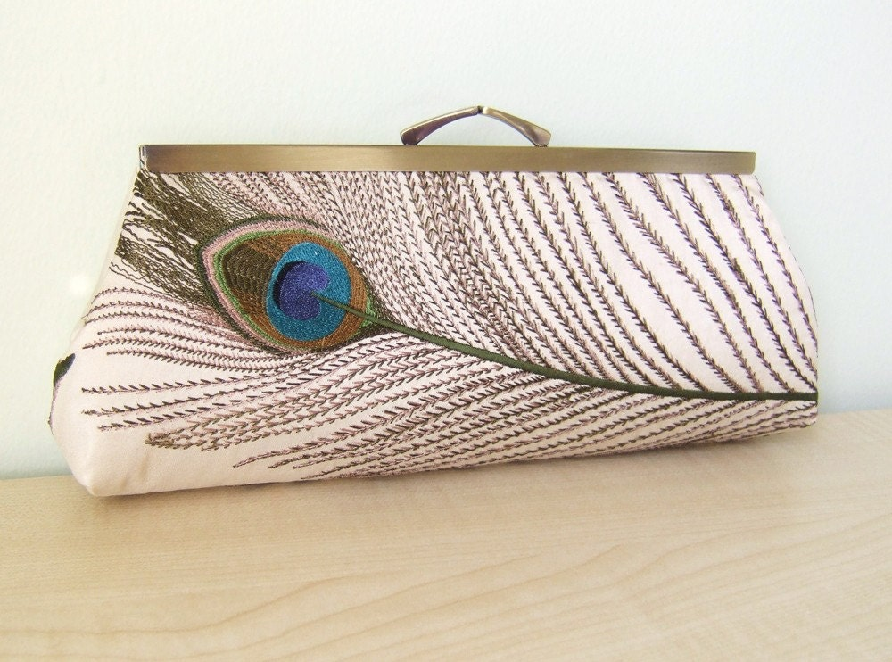 EllenVINTAGE SILK Peacock CLUTCH