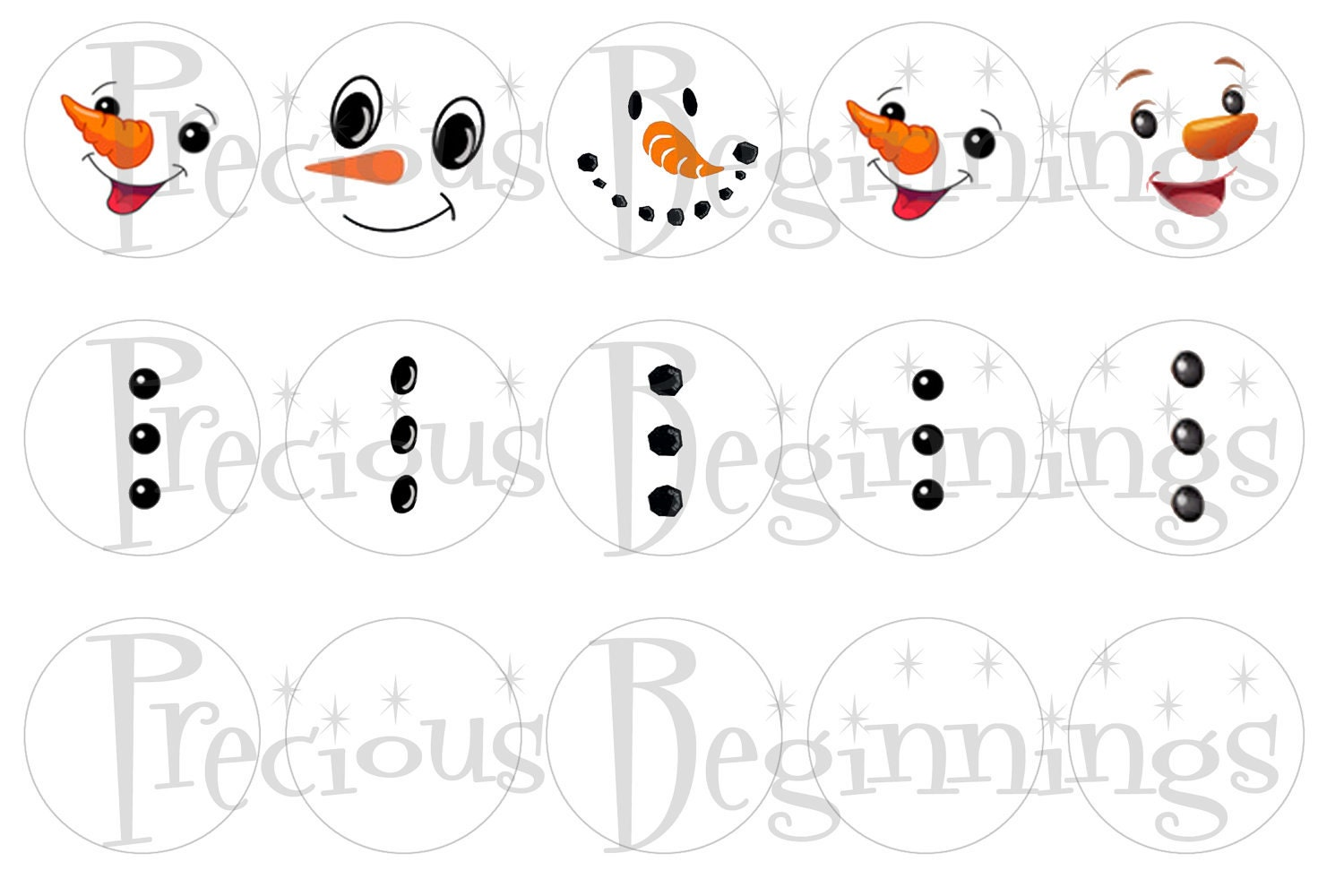 Items similar to Snowman Faces and Buttons for Bottle Cap Ornaments on