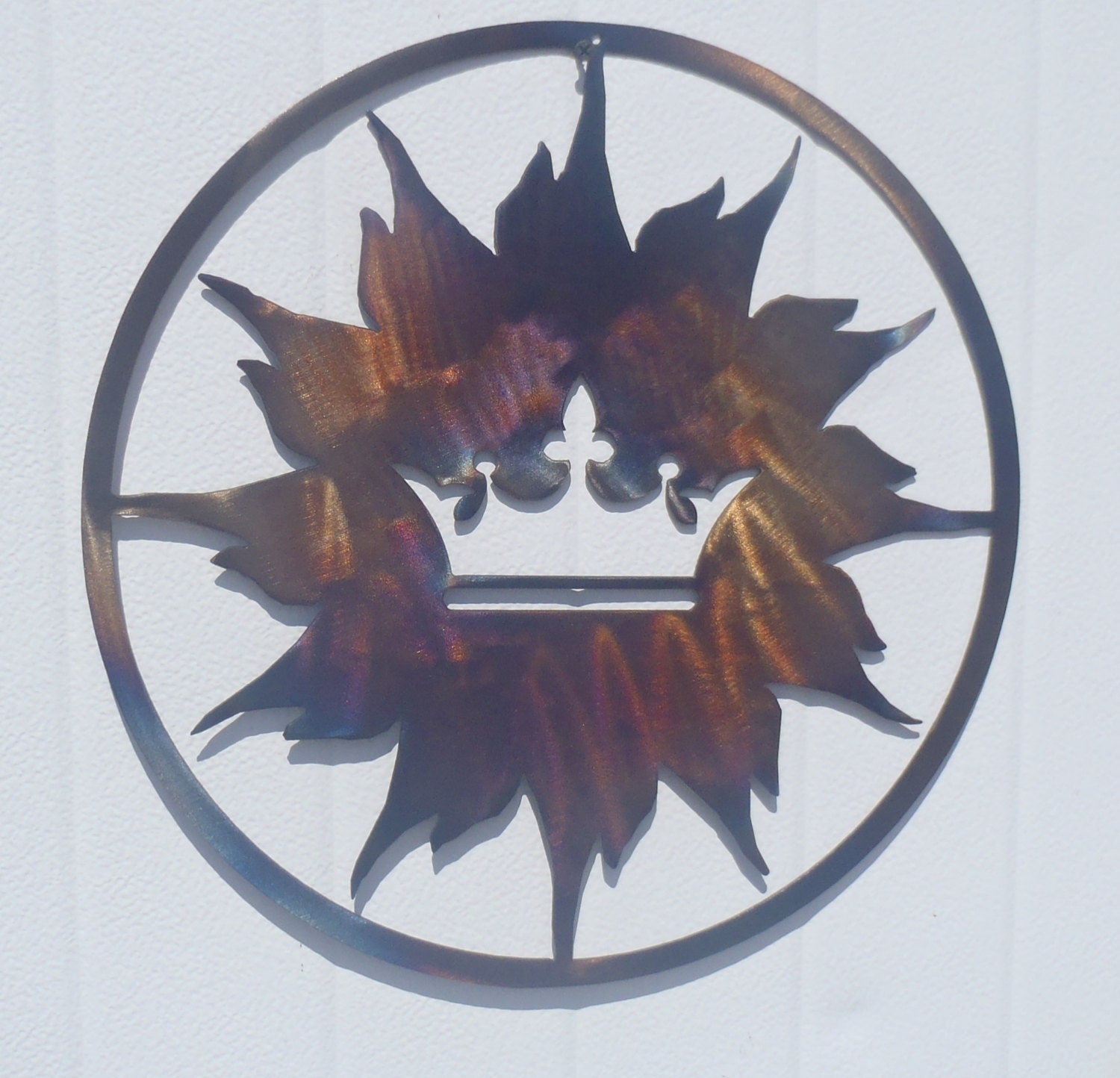 Crown And Sun Metal Art Round Wall Decor By Tibi291 On Etsy