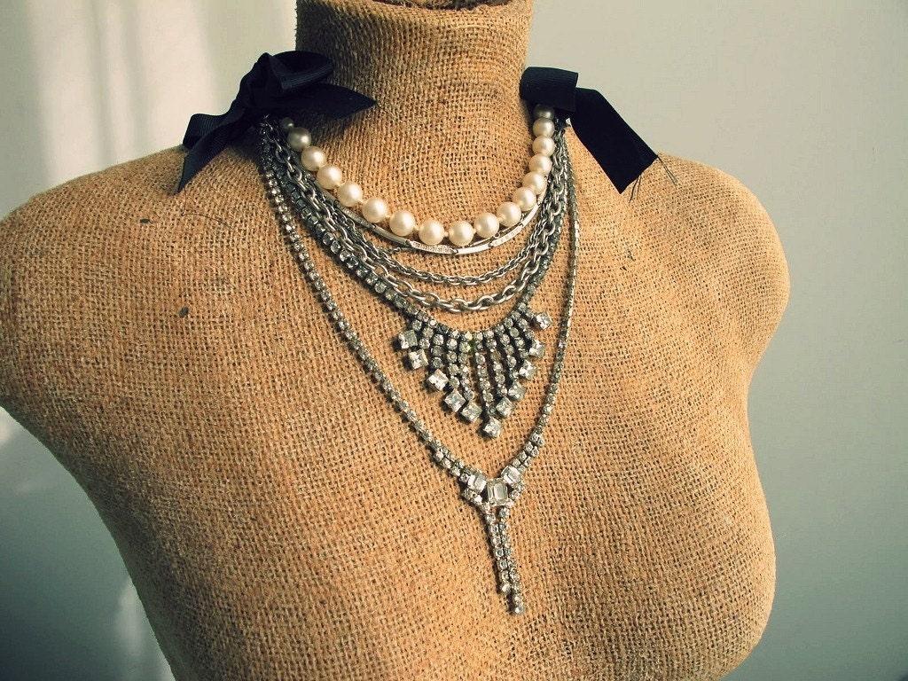 rhinestone and pearls repurposed bib necklace OOAK