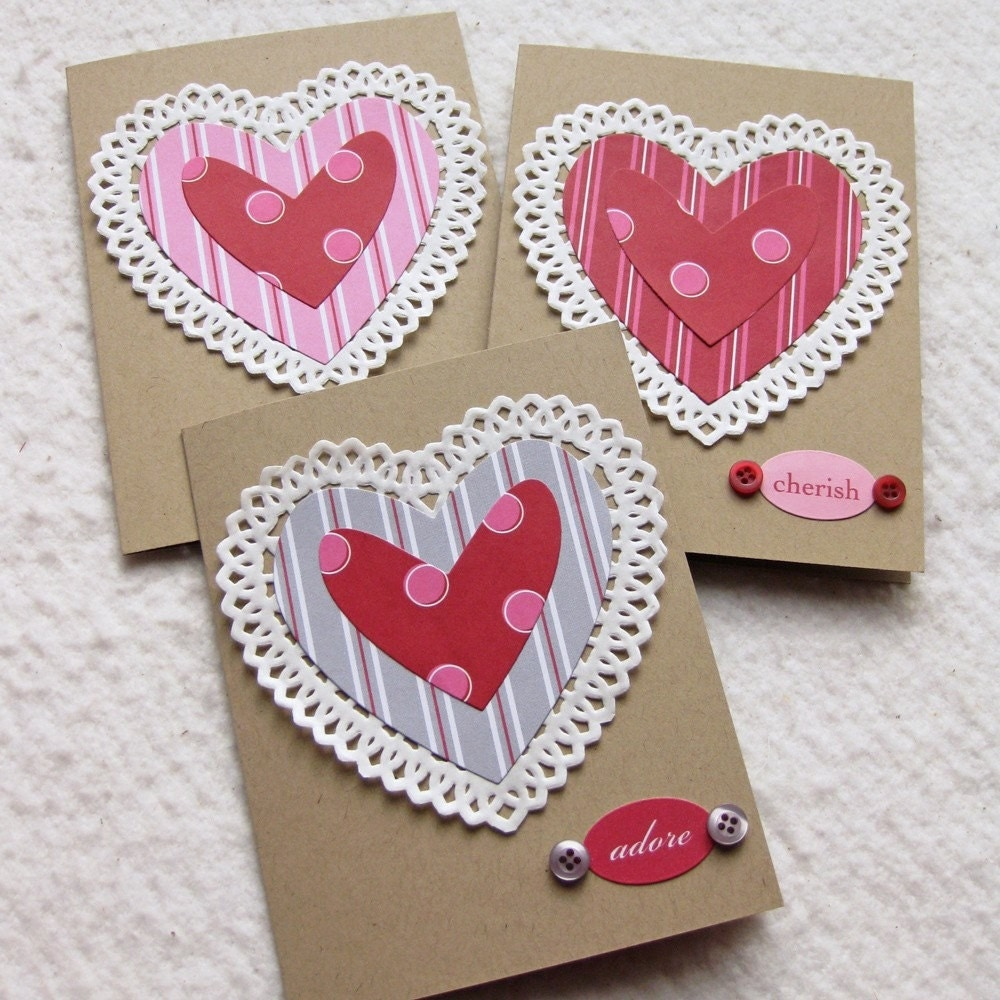 Doily Heart Adore Cherish XOXO Greeting Cards - Set of 3