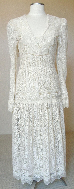 Vintage sheer lace flapper dress 1920s art deco wedding gown w drop