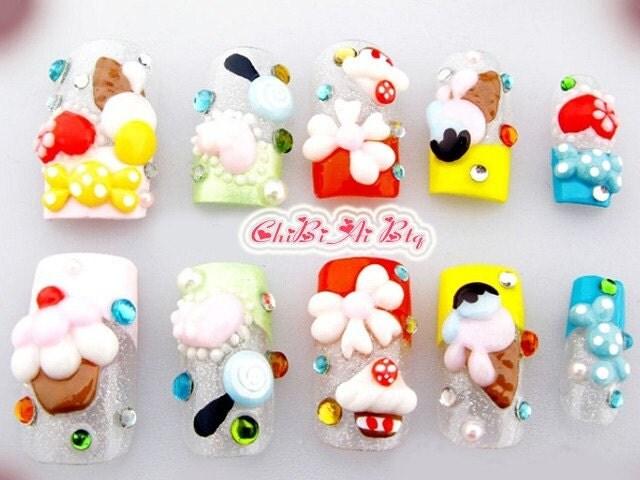 Sweeties japanska lösnaglar uppsättning av 10 (P00183)