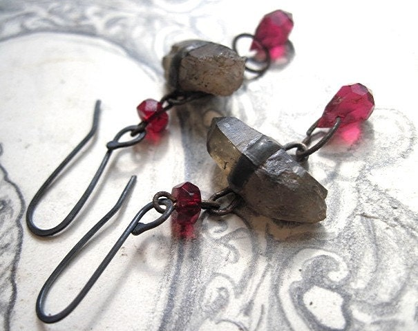 A Canal is Torment. Garnet and Quartz Dangles.