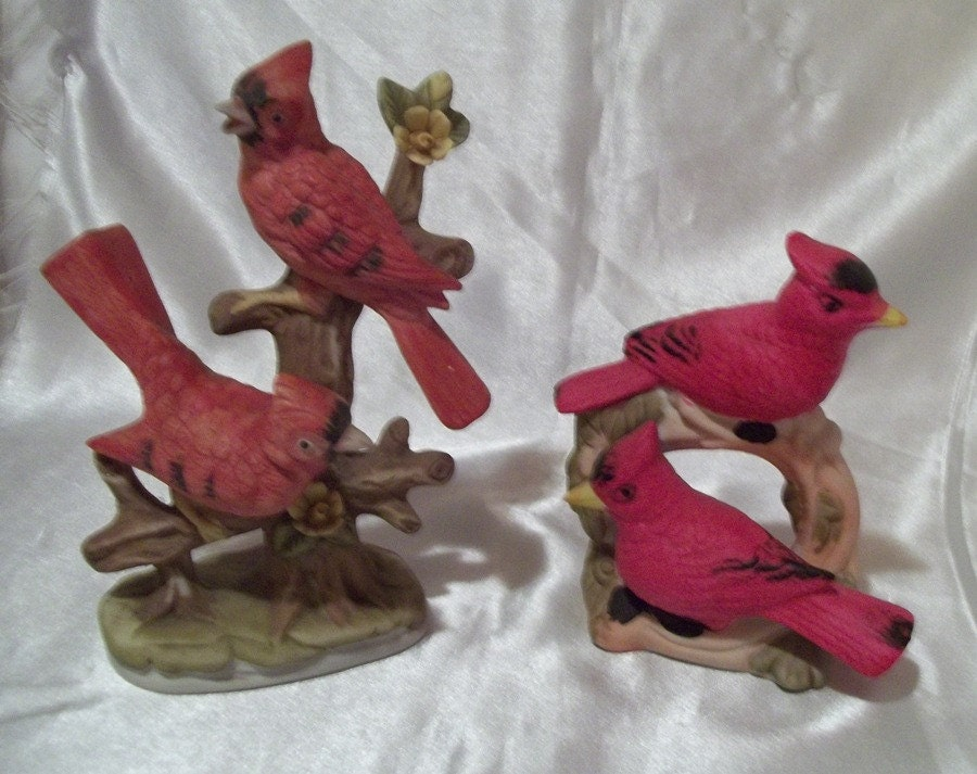 Ships Free Red Cardinal Birds 2 Figurines By Oldladyoldstuff