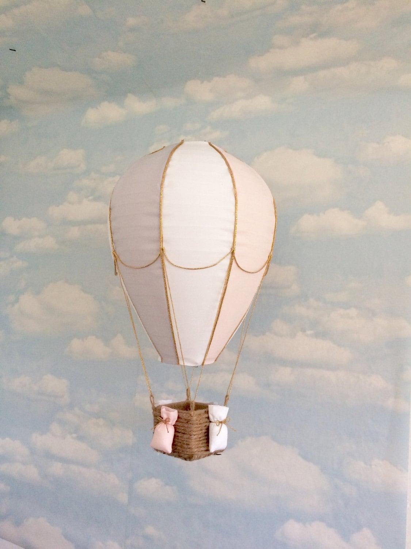 Hot air balloon light shade hanging mobile nursery decor travel theme pink and grey nursery