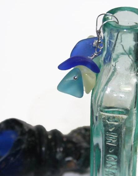 RESERVED  Seaside Blue Frosty Glass Earrings