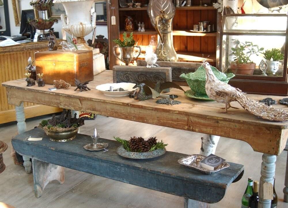Long Antique Farmhouse Harvest Table