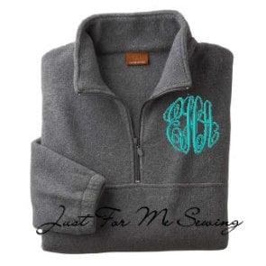 Monogrammed Fleece Pullover-Half-zip pullover jacket-SALE limited time