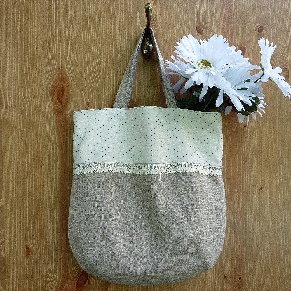 Small linen tote bag - natural color