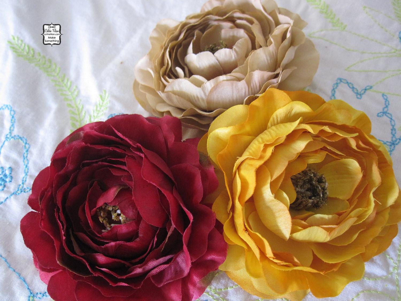 Ruby Red, Манго желтый, Чай Витражи Tan - 3 нежные цветы Шелк - Дамских, Измененные Couture, волос Цветы