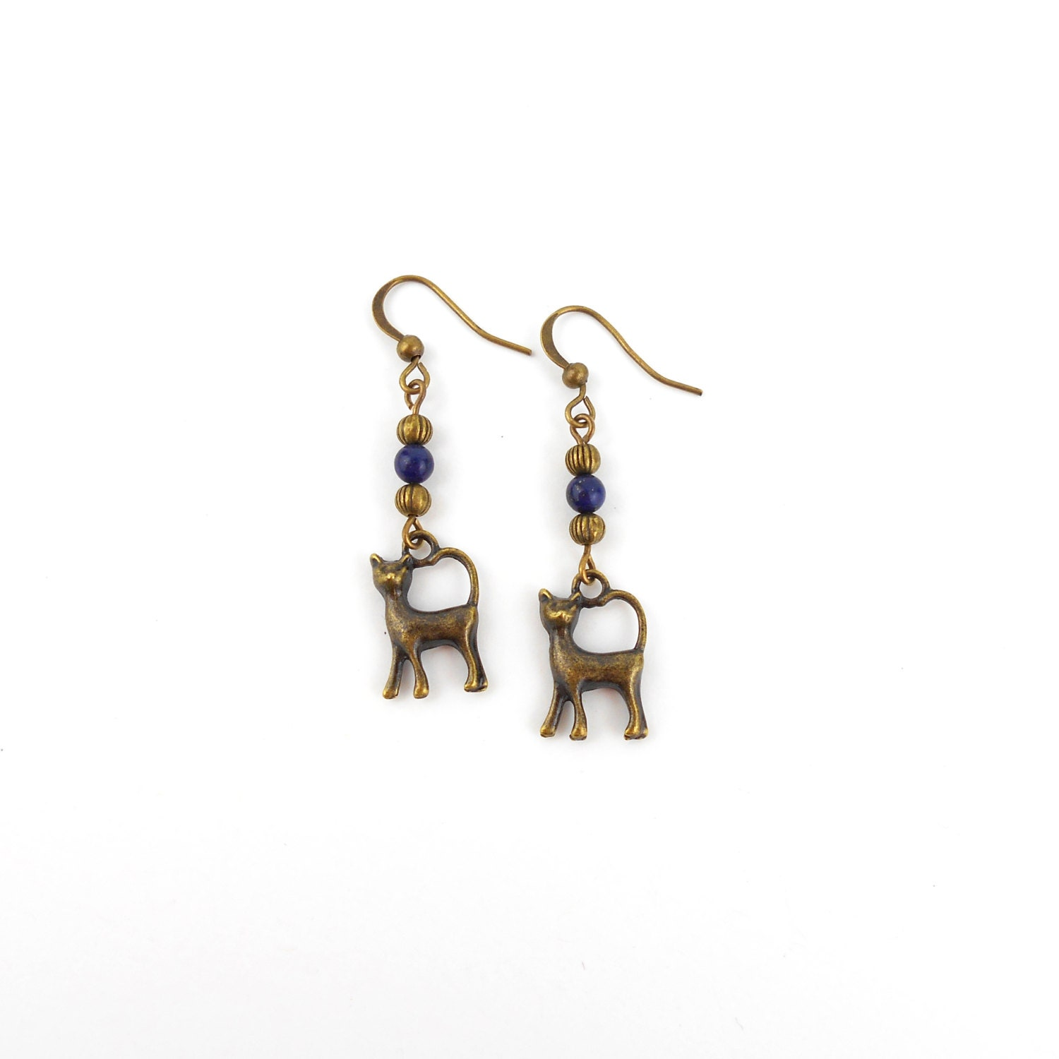 Long Drop Cat Earrings with Lapis Lazuli gemstones in Antique Bronze Perfect gift for a cat lover