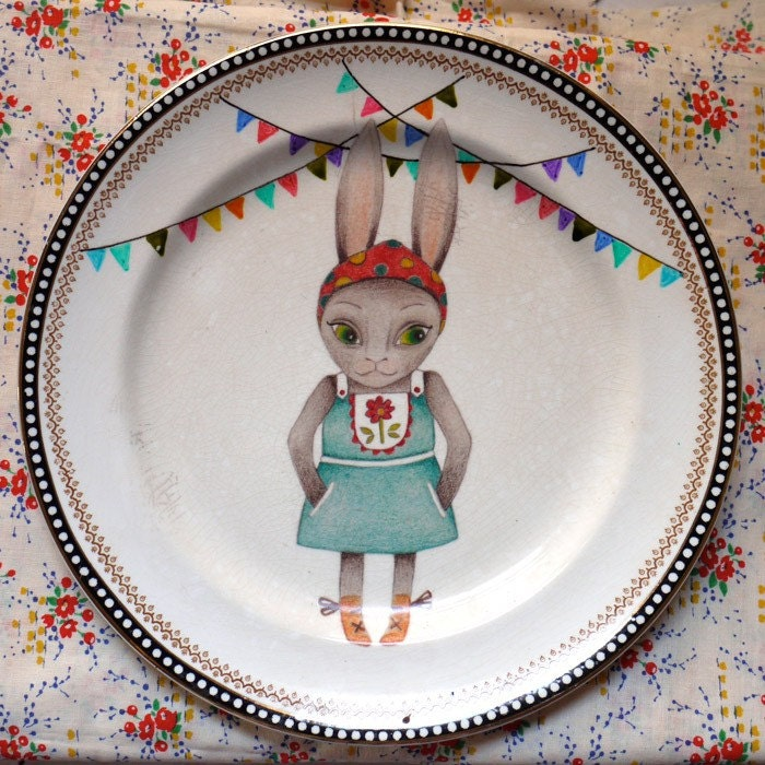 Heidi Bunny with Bunting Vintage Illustrated Large Feature Plate