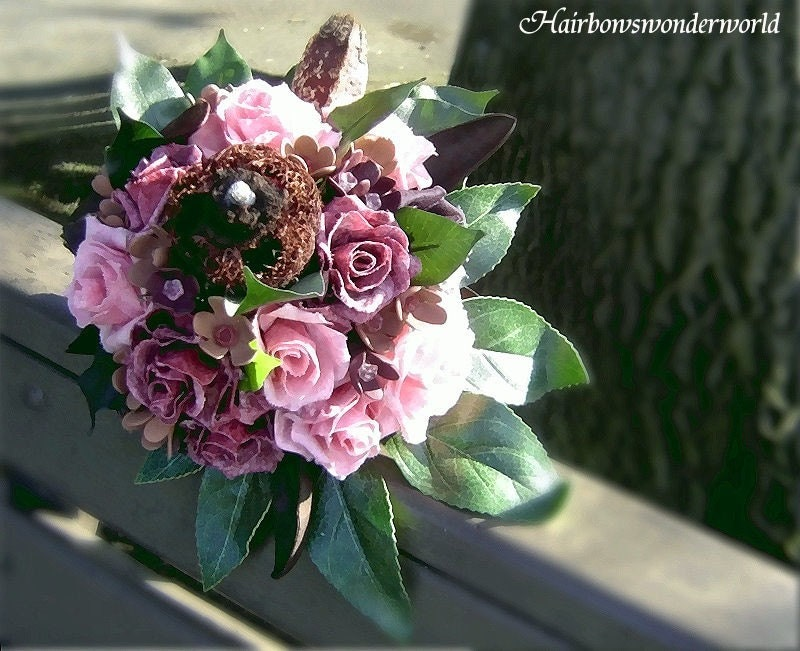 Raspberry Mocha pink and brown Bridal Bouquet with matching Boutonniere
