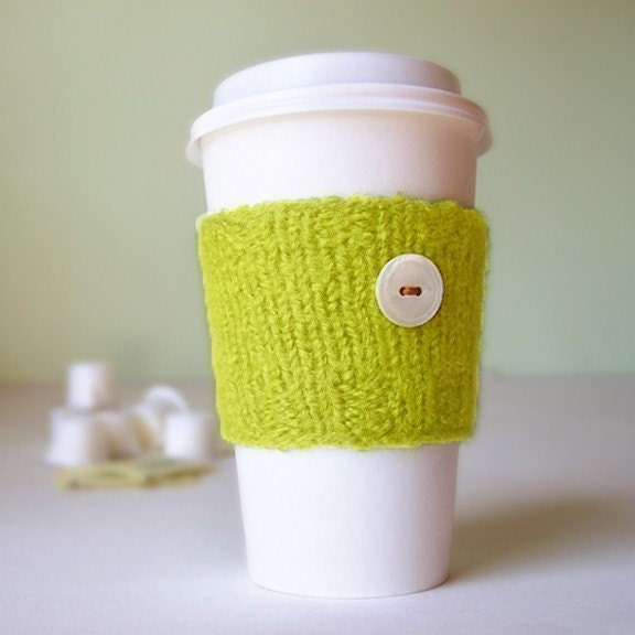 Cup  Cozy - Knitted and lightly felted, in Chartreuse
