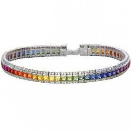 Multicolor Rainbow Sapphire & Diamond Tennis Bracelet 14K White Gold (9.5ct tw) SKU: 411-14K-Wg