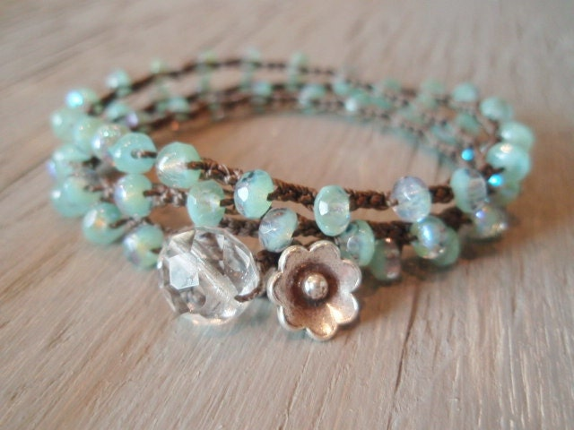 Boho beaded crochet necklace / 3x bracelet / 2x anklet - Laguna Beach - Thai Silver, bohemian, seafoam green, Shabby surfer chic, summer - slashKnots