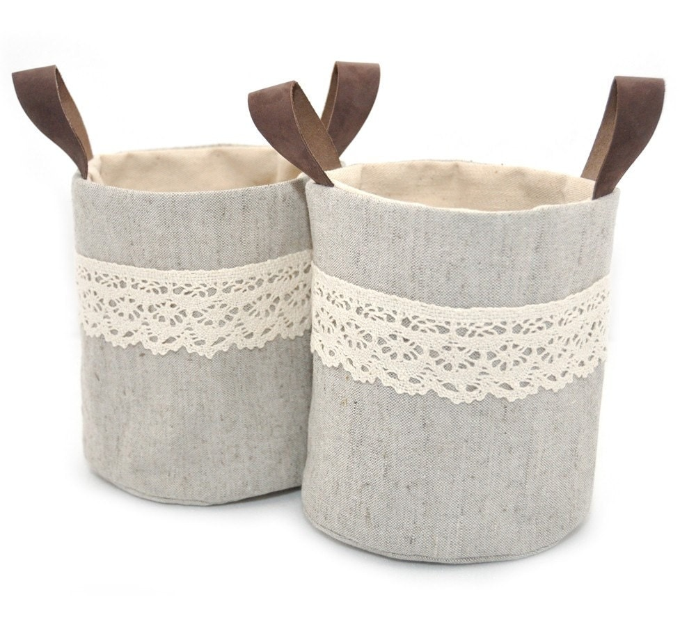 Mini Ollyvia Fabric Basket Set - Raw Cotton Lining