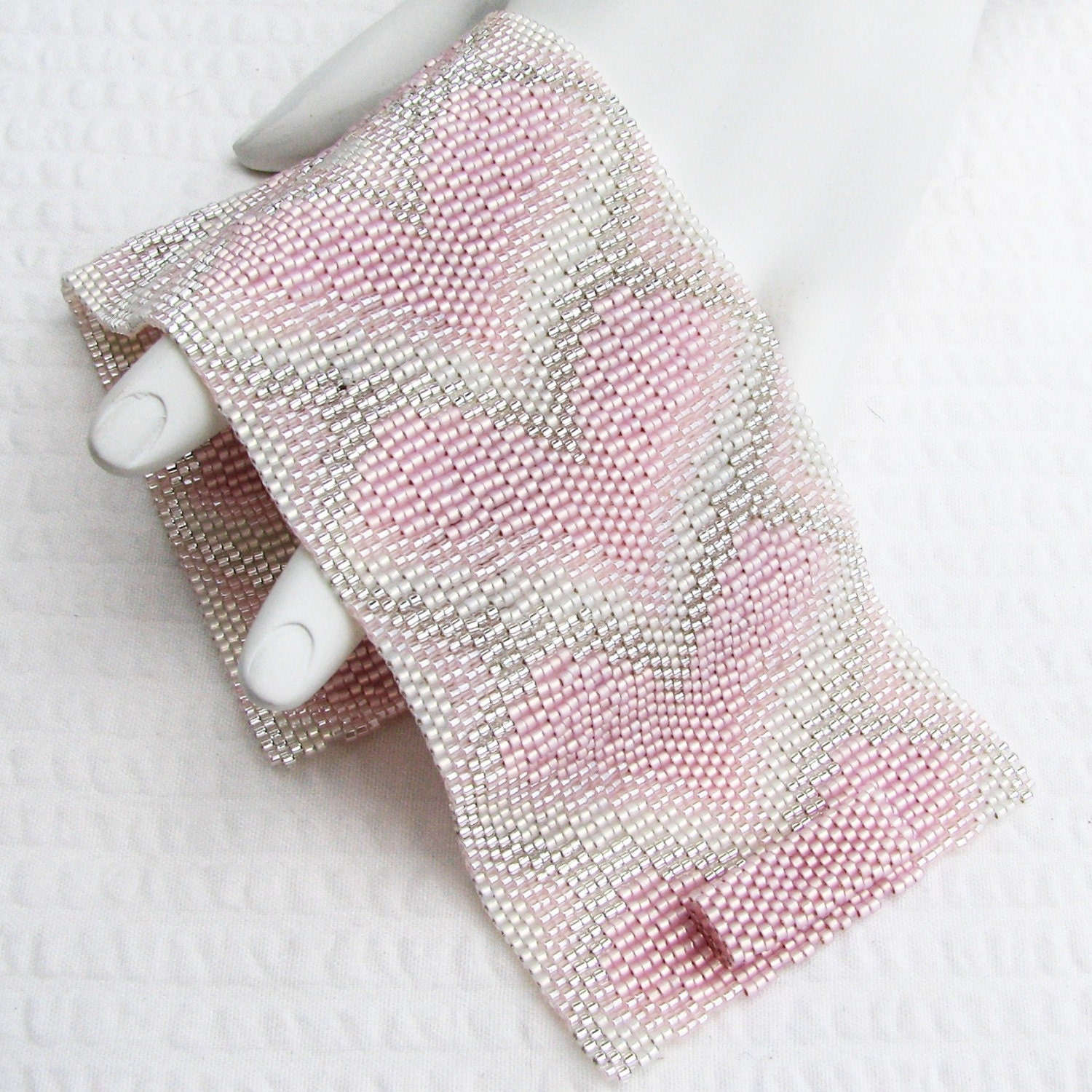 Soft Pink Bargello Hearts Peyote Cuff Bracelet (2383)