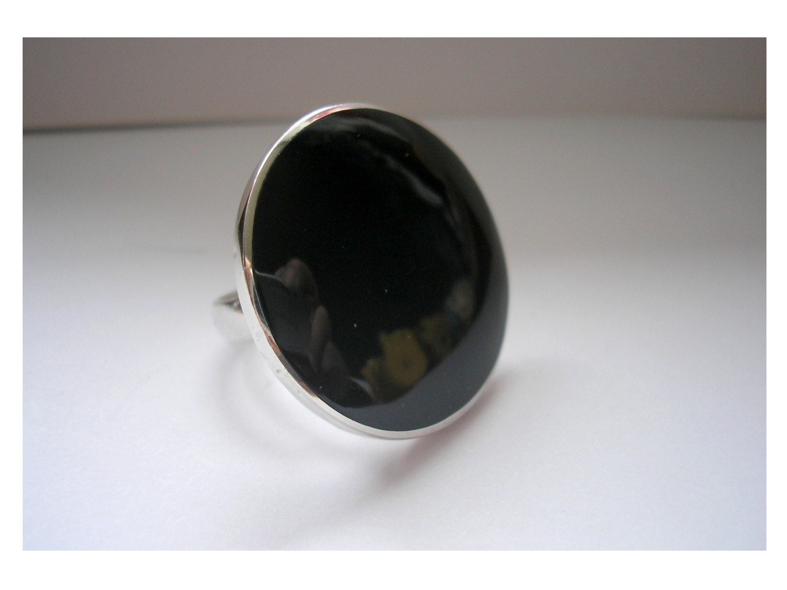 Vintage modern Black false onyx sterling silver/925 by craftforyou