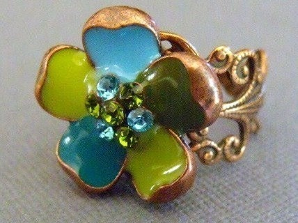 Colorful Copper Flower Ring