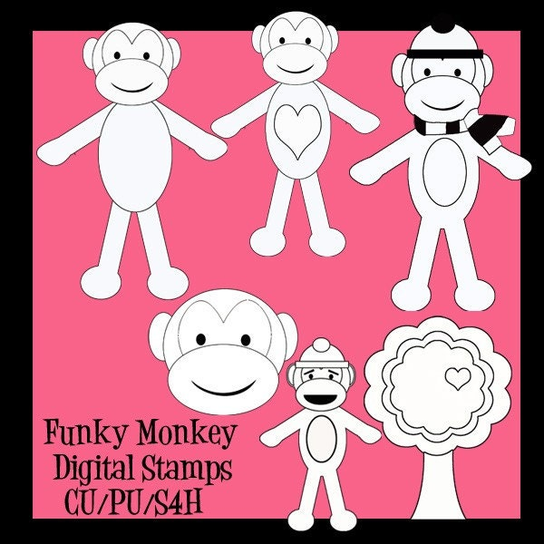 6 Funky Monkey in Black and white for Cards, stationary and paper