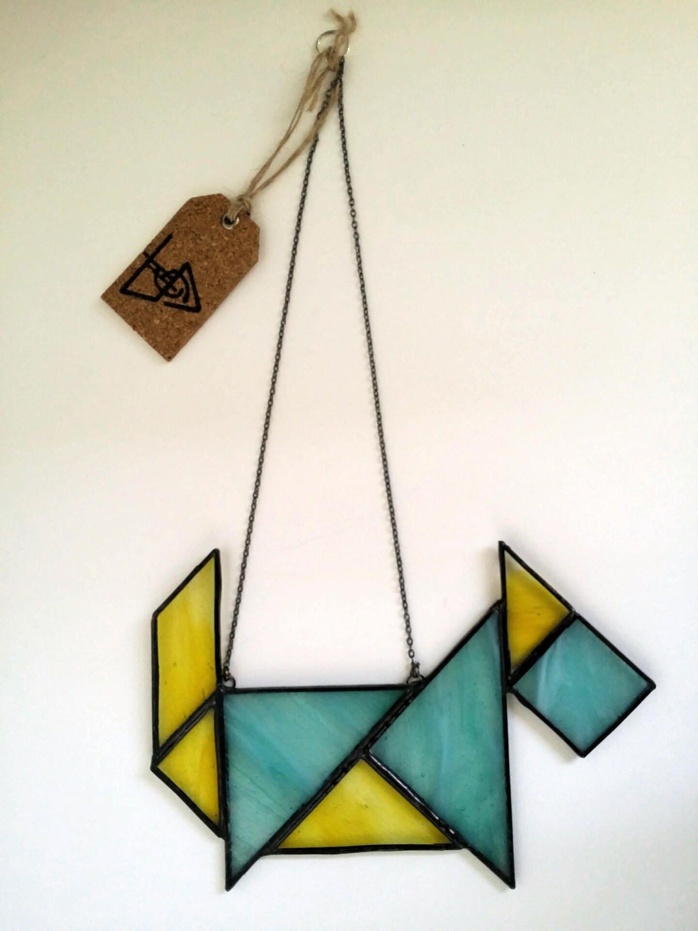 Stained Glass Chinese Tangram Geometric Dog  Window  Wall Hanging  Sun Catcher  Scottie Dog