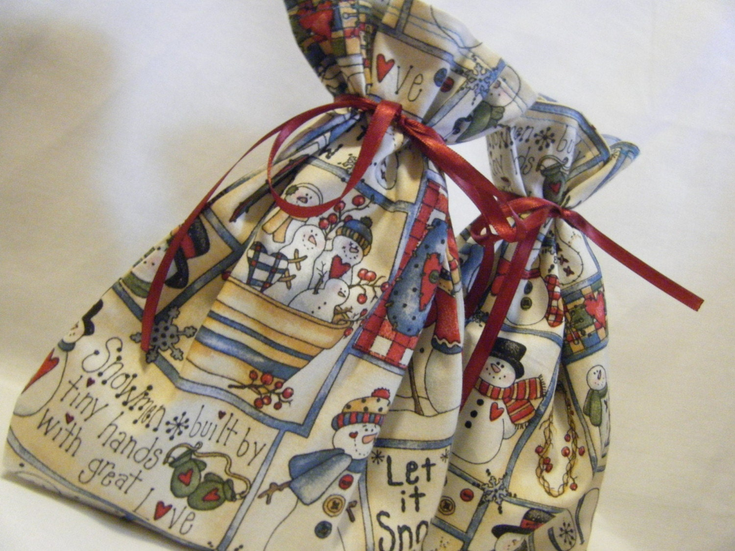 Reusable Gift Bag Snowmen Set